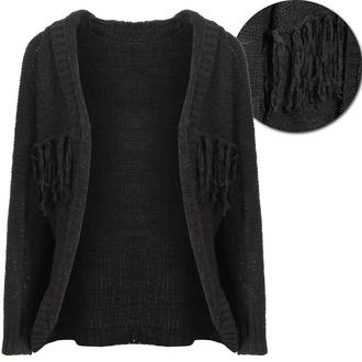 View Item Black Knitted Tassel Carigan